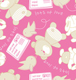 Lots of love bear and bird seamless pattern vector image vector image