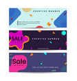 memphis style banner design set colorful vector image
