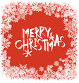 Merry Christmas greeting Snowflakes frame vector image