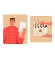 movie making scene set actor reads script hands