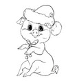 piglet contour cute new year character vector image vector image