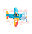 pilot flying on airplane on air show vector image vector image