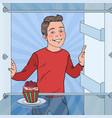 pop art boy sees tasty cake in the fridge vector image vector image