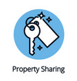 property sharing economy key icon black outline vector image vector image