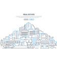 real estate - modern line design style web banner vector image