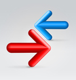 Red blue arrows opposition vector image vector image