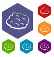 round cloud icons set hexagon vector image vector image