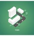 set isometric city buildings vector image