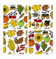 set of seamless patterns of autumn elements vector image vector image