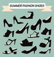 set of summer Fashion female Shoes vector image
