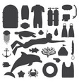 skin diving and snorkeling silhouette set vector image