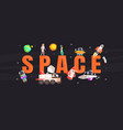 space banner template with astronaut spaceship vector image vector image