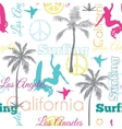 Surfing California Colorful Seamless vector image