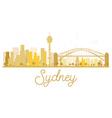 Sydney City skyline golden silhouette vector image vector image