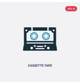two color cassette tape icon from technology vector image