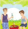 two men barbecuing - funny barbecue Party vector image vector image