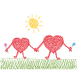 valentine drawing of two hearts in love vector image vector image