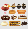 various sweet and chocolate dessert vector image vector image