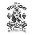 vintage tattoo monochrome badge vector image vector image