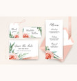 wedding save date menu rsvp place card blush peach vector image vector image