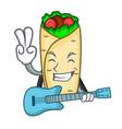with guitar burrito mascot cartoon style vector image