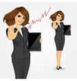 woman holding tablet screen vector image vector image
