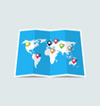 world map with pin location paper map vector image vector image