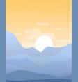 flat cartoon sunset landscape vector image
