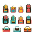 Colorful travel bag and packpack set Modern flat vector image