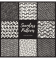 Seamless Black and White Hand Drawn Lines vector image
