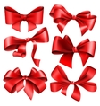 Set of 6 red bow vector image