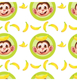 A seamless design with monkeys and bananas vector image