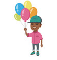 african boy with the bunch of colorful balloons vector image