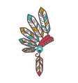 authentic injun hat with feathers isolated cartoon vector image vector image