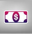 bank note dollar sign purple gradient vector image vector image