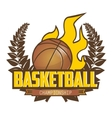 Basketball championship logo with ball vector image
