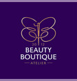 beauty boutique logo double b like a butterfly vector image