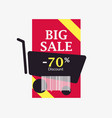 big sale 70 percent discount barcode and shopping vector image vector image