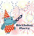 birthday party background with cartoon hippo vector image vector image