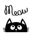 black cat looking up to meow lettering text cute vector image vector image