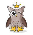 brown owl with crown isolated on white vector image vector image