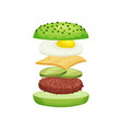 burger with flying ingredients green buns cutlet vector image vector image