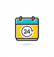 calendar icon with 24 hours symbol vector image vector image