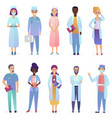 cartoon doctors medical workers team hospital vector image