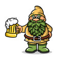cartoon dwarf mascot with a mug beer logo vector image vector image