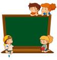 children on blank chalkboard vector image