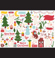 christmas mice elements set hand drawn style vector image vector image
