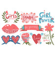 collection of girlish pretty design elements with vector image