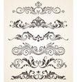 Collection of vintage style flourishes elements vector image