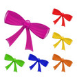 colorful set of realistic ribbon bow isolated on vector image